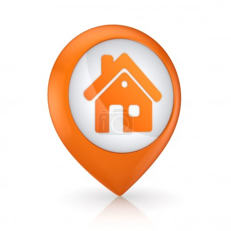 GPS icon with symbol of house.