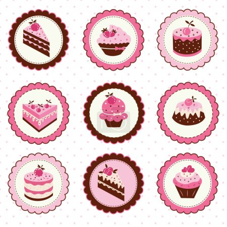 Illustration pour Jeu d'autocollants avec gâteaux aux fruits - image libre de droit