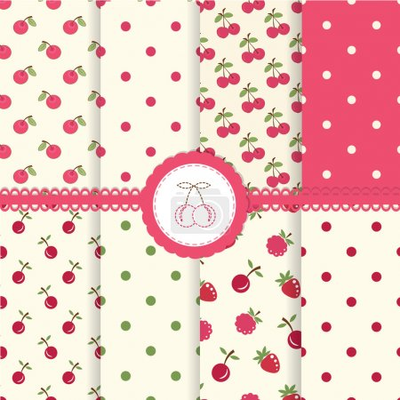Illustration for Set of cherry and polka dot seamless patterns - Royalty Free Image