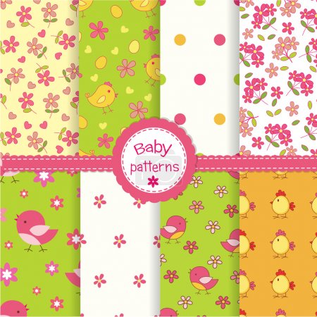 Set of baby seamless patterns