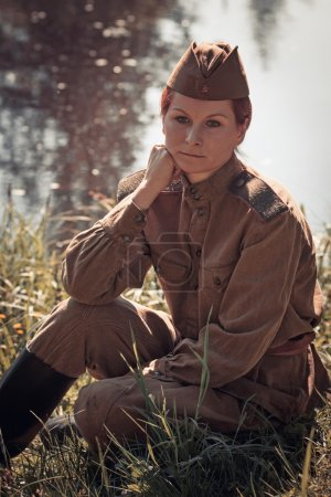 Young woman wearing Red Army form