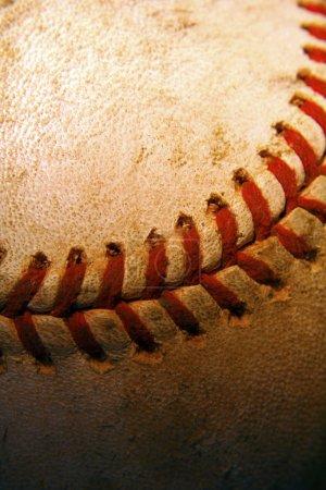 Closeup of an old, used baseball