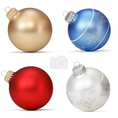 Photo for Set of Christmas balls on white background - Royalty Free Image