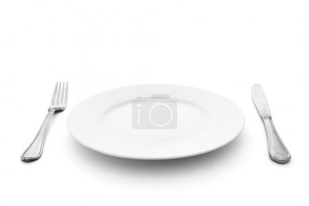 Photo for Knife with fork and plate - Royalty Free Image