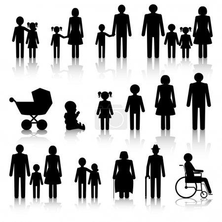 Photo pour Icônes familiales avec ombres en noir et blanc - image libre de droit