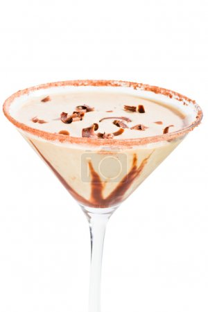 Chocolate martini isolated on a white background w...
