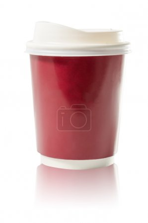 Coffee to go paper cup isolated on white : Clipping path included