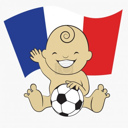 Baby Soccer Boy with France Flag Background
