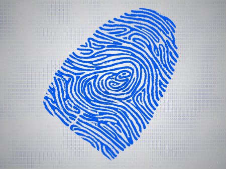 Conceptual fingerprint and code symbolize technology