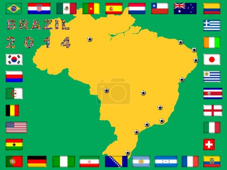 Brazil map with qualified nations for 2014 tournament.
