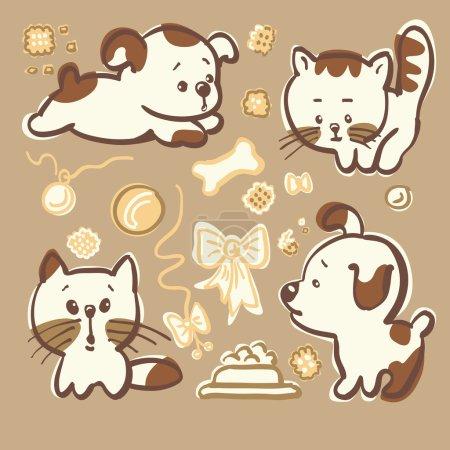 Illustration pour Jeu de vecteurs - chiots et chatons isolés d'un arrière-plan - image libre de droit