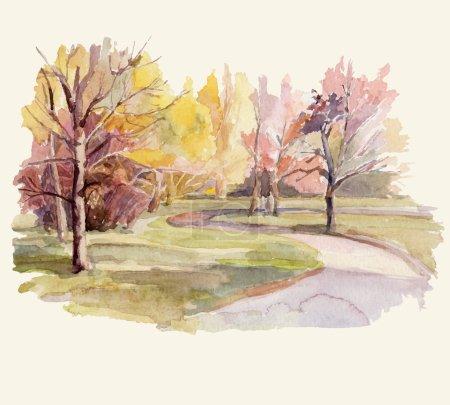 Illustration for Autumn landscape. Watercolor illustration. - Royalty Free Image