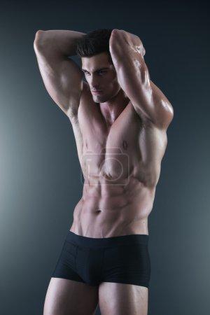 Portrait of a shirtless muscular man in underwear