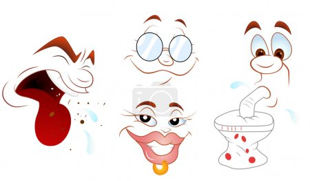Illustration for Creative Abstract Conceptual Design Art of Face Impressions Vectors - Royalty Free Image