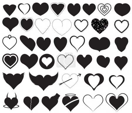 Hearts Silhouettes Vectors