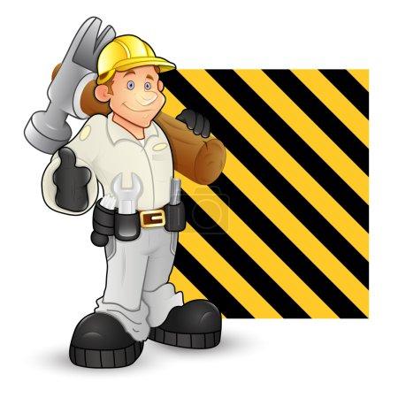 Illustration pour Design conceptuel créatif Art of Under Construction Ingénieur de bande dessinée Vecteurs de caractères - image libre de droit