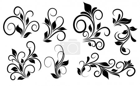 Illustration for Creative Decorative Abstract Design Art of Flourish Swirls Vector Elements - Royalty Free Image