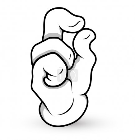 Cartoon Hand - Finger Pinch - Vector Illustration