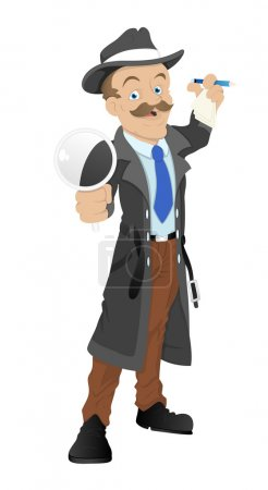 Illustration for Creative Conceptual Design Art of Cartoon Detective Character Vector Illustration - Royalty Free Image