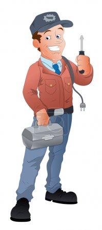 Illustration pour Conception conceptuelle créative Art de l'électricien de bande dessinée Illustration vectorielle de caractères - image libre de droit