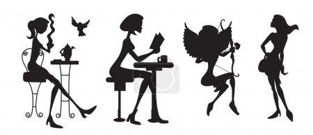 Illustration pour Art créatif dessin artistique conceptuel abstrait des silhouettes de filles modernes - image libre de droit