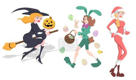 Halloween, Easter and Christmas Girl Vector