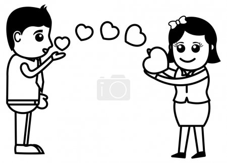 Flying Kisses & Hearts - Office and Business Cartoon Character Vector Illustration Concept