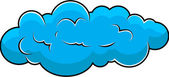 Drawing Art of Blue Rainy Fluffy Comic Cloud Speech Bubble Vector Design