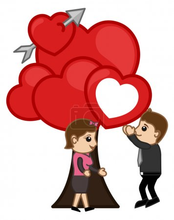 Tree of Love - Cartoon Vector Concept