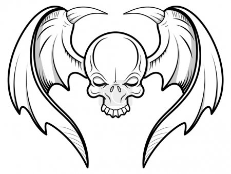 Illustration for Drawing Art of Cartoon Scary Skull with Wings Vector Illustration - Royalty Free Image