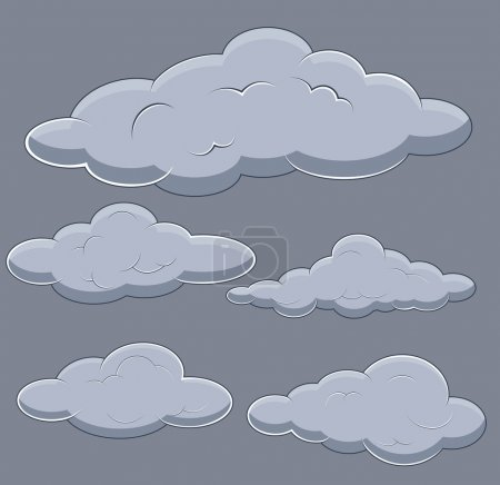Illustration for Drawing Art of Fluffy Cartoon Comic Clouds Vector Illustration - Royalty Free Image