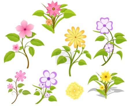 Illustration for Drawing Art of Set of Decorative Nature Flowers Vector Illustration - Royalty Free Image