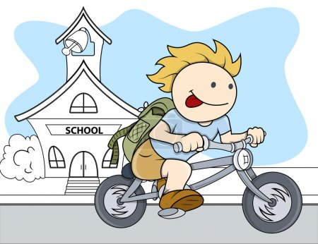 Boy Going From School - Kids - Vector Illustration