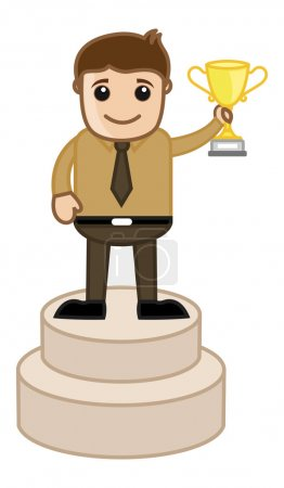 Man Standing on Podium Holding a Trophy Cup - Cartoon Office Vector Illustration