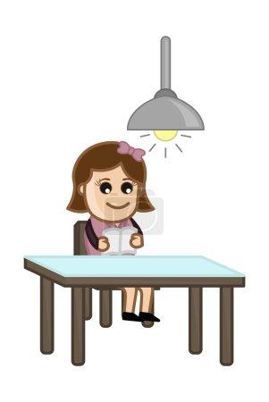 Illustration pour Dessin conceptuel Art de la jeune fille de bande dessinée lecture livre seul vecteur illustration - image libre de droit
