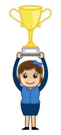Winner Girl - Cartoon Office Vector Illustration