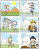Drawing Art of Cute Cartoon Kids Playing and Enjoying Vector Illustration