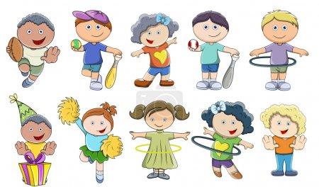 Photo pour Dessin Art de divers enfants de bande dessinée mignon jeu vectoriel - image libre de droit