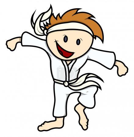Illustration for Drawing Art of Young Cartoon Kid Playing Martial Arts and Smiling Vector Illustration - Royalty Free Image