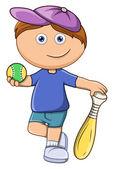 Little Kid Playing Baseball - Vector Cartoon Illustration