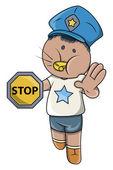 Kid Playing Traffic Police Game - Vector Cartoon Illustration