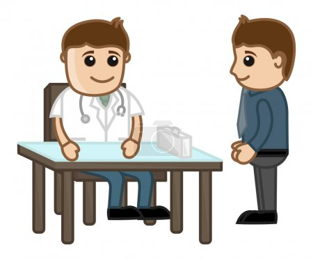 Doctor with Patient - Medical Cartoon Characters