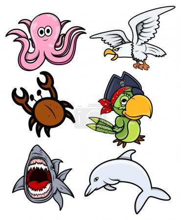 Various Sea Creatures - Cartoon Vector Illustration