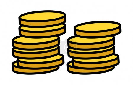 Gold Coins Stack - Vector Illustration