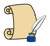Parchment with Quill and Inkstand - Cartoon Vector Illustration