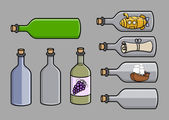 Empty Old Cork Bottles - Cartoon Vector Illustration