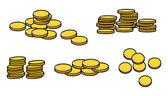 Gold Coins Stack - Cartoon Vector Illustration