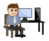 Computer Teacher Sitting on Computer Desk