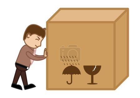 Pushing a Big Box - Business Cartoon
