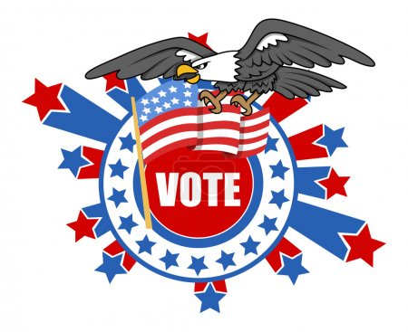Vote theme Design with Bald Eagle and USA Flag - Election Day Vector Illustration